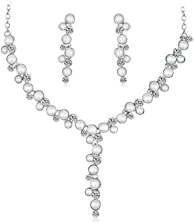 Flyme Necklace Earrings Diamond Pearl Elegant Women Jewellery Set of Crystal Pendant Necklace+Earrings(Silver)
