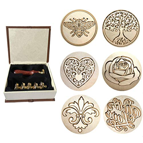 Wax Sealing Stamp, Moorlando 6PCS Sealing Wax Stamp Brass Heads + 1PC Wooden Handle with a Gift Box for Invitations Letters Envelopes Wax Sealing