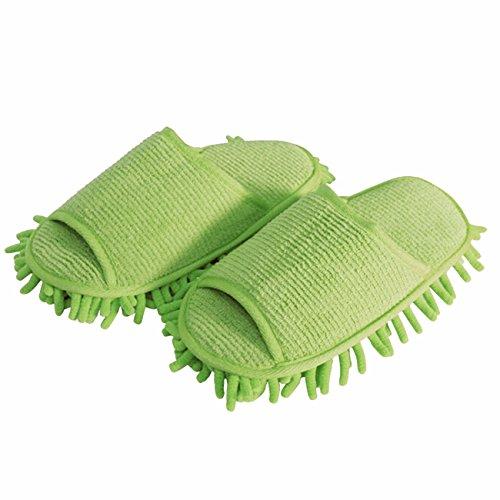 ShiyiUP Putzschuhe Putzpantoffel Staub Hausschuhe mit reinigender Mikrofaser Grün