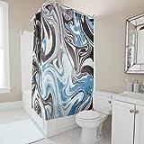Zhenxinganghu Textura de mármol lavable a máquina, juego de cortinas y alfombras de baño con ganchos para colocar en el suelo y en la bañera, decoración de poliéster blanco 200 x 180 cm