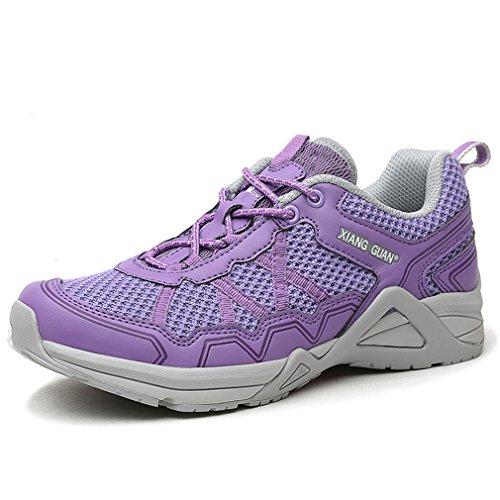 XIANG GUAN Femme Lace Up Léger Mesh Respirant Outdoor Chaussures Basses Multisport Chaussures de Course Jogging Camping (EU 36, Violet)