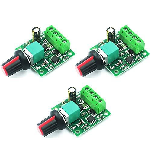 Greluma 3 Piezas 1.8v 3v 5v 6v 7.2v 12v 2A 30W DC Controlador de Velocidad del Motor(PWM)1803BK Interruptor de Controlador Ajustable