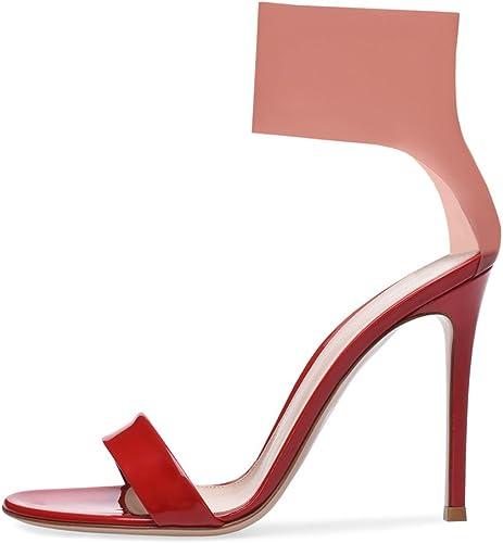 LYY.YY Femmes PVC Rose Chaussures Bottines Sandales à à à Talons Hauts Bottes Enveloppé Talon Open Toe Couleur Assortie Chaussures (Hauteur du Talon  11-13Cm) 5ec