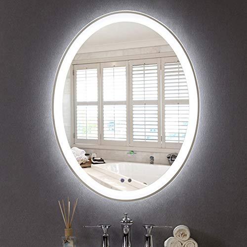 Miroir De Maquillage Salle De Bain Tenture Murale LED Compacts Miroir Rond Lumière Miroir Anti-Buée Intelligent,White-500 * 700MM