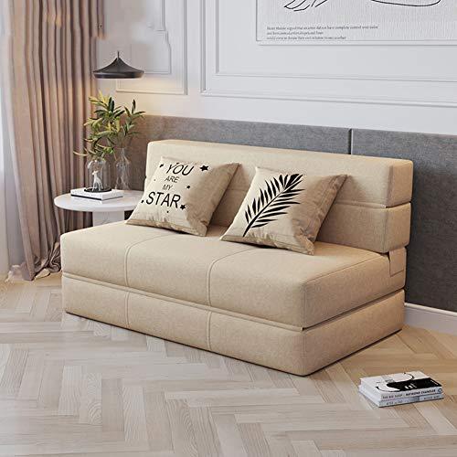 Sofá Cama, Sofá Cama Plegable Lazy Sofa 3 Plazas Sofá Cama Línea Sofá De Tela Sofá Sofá Cama Para Sala De Estar,Caqui,150cm