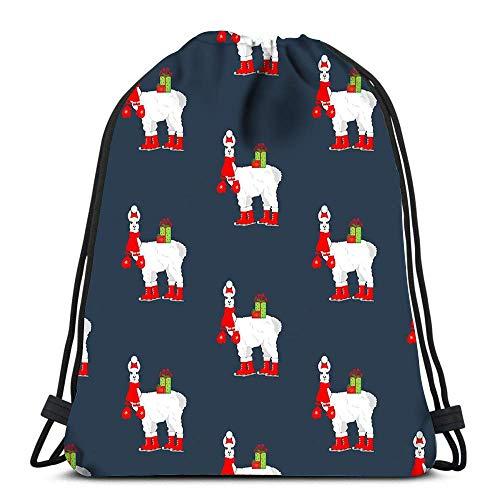 BOUIA Kordelzug Taschen Rucksack Lama auf Schlittschuhen Der Blaue Reiserucksack Tote School Rucksack