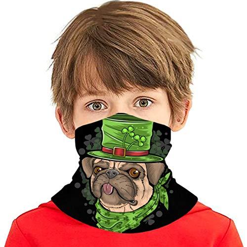 Día de San Patricio Pug Puppy Dog Artwork Cara Bufanda Cubierta Deporte al aire libre Correr Niños Cubierta facial Variedad Toalla facial Diadema para el cuello