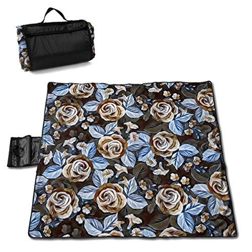 Singledog Picknickdecke Floral Blue Rose Vintage Blume Strandmatte Tote für Camping Wandergras Reisen 145X150CM