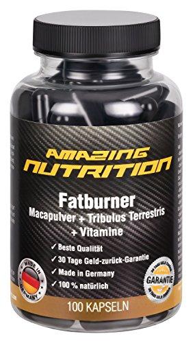 Fatburner mit Macapulver + Tribulus Terrestris + Grün Tee Extrakt + Traubenkern-Extrakt (OPC) + Koffein + Pfeffer-Extrakt + Vitamine (B1, B2,B6, B12) + Folsäure + Pantothensäure und Niacin) - 100 Kapseln - Abnehmen - Ideal für die Diät und unterstützt die Fettverbrennung und Stoffwechsel - mehr Energie - steigert die Libido und Lust - Made in Germany
