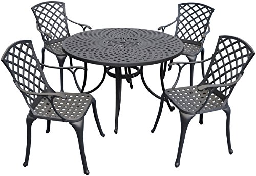 Crosley Furniture KOD6002BK Sedona 5-Piece Solid-Cast Aluminum Outdoor Dining Set with 46-inch Table and 4 High-Back Arm Chairs, Black