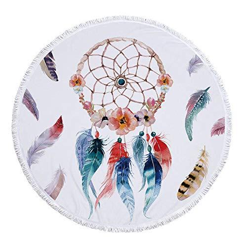 Haninj Ronde Strandhanddoek Microvezel Douche Badhanddoeken Herten Elk Print Zomer Zwemmen Sjaal Yoga Mat Tassel-Dreamcatcher 1_Ronde 150X150Cm