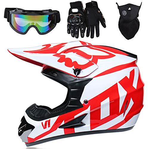 YEDIA-01 - Casco de motocross para niños, jóvenes, adultos, cara completa, MTB todoterreno, Quad motocicleta, juego de cascos para Dirt Bike MX, con diseño FOX, blanco rojo, XL