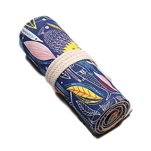 色鉛筆ケース キャンバス 24穴 文具収納 ペンケース かわいい 筆箱 大容量 ペンケース シン プル 厚くしているキャンバスの材質で 鉛筆巻き 消しゴム 色鉛筆 鉛筆 ボールペンと絵筆などが収納できますが(カラフルな魚, 24穴)