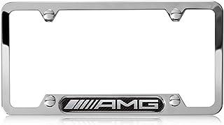 Genuine Mercedes Benz AMG Stainless Steel w/ Carbon Fiber License Plate Frame