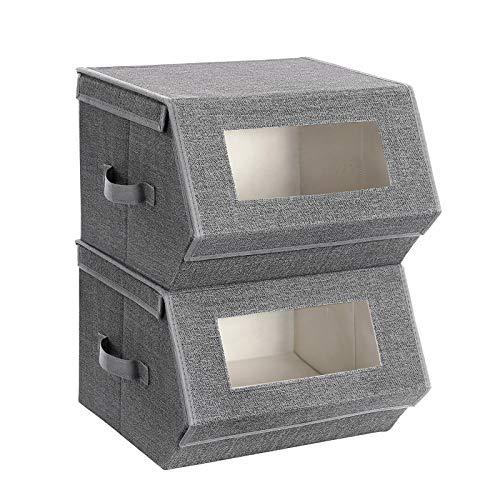 SONGMICS Aufbewahrungsboxen, 2er Set, mit transparentem Sichtfenster, stapelbare Faltboxen mit magnetischem Klappdeckel, Metallrahmen, seitlichen Griffen, für Spielzeug, Kleidung, grau-beige RPLB02G