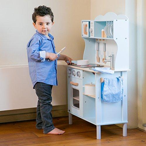 New Classic Toys 11065 Küchenzeile-Modern mit Kochfeld Multi Color – hier in Blau - 6