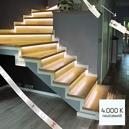 proventa® LED-Treppenstufenbeleuchtung mit Dimmer, Komplettset für 15 Stufen, 4.000K neutralweiß, montagefreundliche Steckverbindung