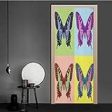 3D-Türaufkleber, Original-Schmetterling-Motiv, Vintage-Farben, schöne Kreatur-Illustration,...