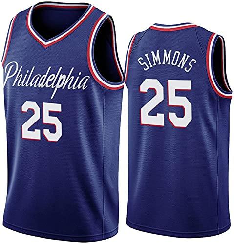 NBA Jersey, Filadelfia 76Ers # 25 Simmons Baloncesto Uniforme Cómodo Malla Transpirable Top Bordado,Azul,L