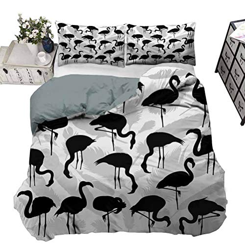 UNOSEKS LANZON Quilt Cover Set Flamingo Bird Silhouettes in Different Poses And Feathers Monochrome Art Bedding Set Never Fades After Multiple Washes Black Pale Grey White Full - 203 x 230 CM