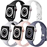 Muranne Compatible with Apple Watch Band 40mm 38mm iWatch SE & Series 6 5 4 3 2 1 for Women Men, Slim Durable Silicone Sport 5 Pack Replacement Strap (Black/White/Gray/Sand Pink/Blue Gray 38mm/40mm)
