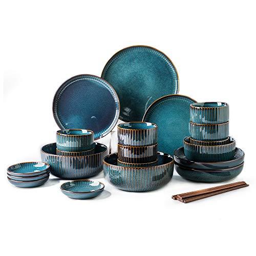 Hoteck 28 teilig Set Tafelservice aus Keramik, Porzellan Teller-Set, Geschirr-Service für 6-8 Personen, Geschirrset mit Schüsseln, Speiseteller,Dipschalen, Essstäbchen,Blau
