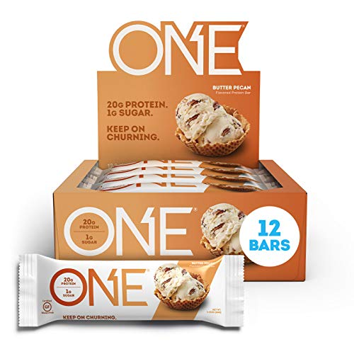 ONE Protein Bars, Butter Pecan, Gluten Free Protein Bars with 20g Protein and only 1g Sugar, Guilt-Free Snacking for High Protein Diets, 2.12 oz (12 Pack)