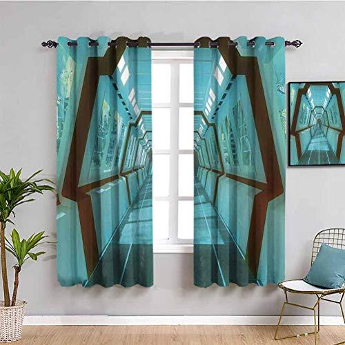 Cortinas para ventana de privacidad con diseño de ciencias ficciones, diseño futurista de naves espaciales, estilo póster con impresión digital, color azul claro, ancho 132 x largo 163 cm