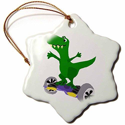 WenNuNa Art Sports en Hobbies - Grappig Groen Trex Dinosaur op Segway Gemotoriseerd Skateboard - 3 inch Snowflake Porselein Ornament door Valentine Herty