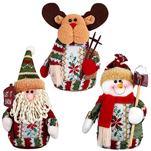 Aneco 3 Pack Christmas Sitting Santa Snowman Reindeer Table Decorations Table Holiday Merry Christmas Happy Holidays Party Supplies