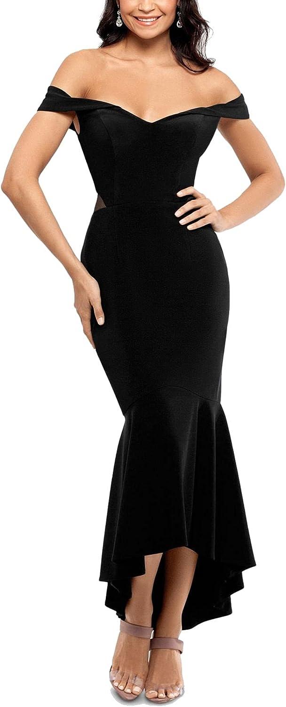 Xscape Womens Illusion Off-The-Shoulder Flounce Dress
