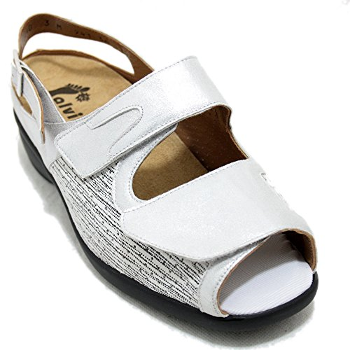Alviflex 7941 - Sandalias Blancas de Piel y Licra con platilla Extraible - Blanco, 41