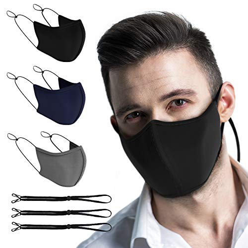 TUFF Face Mask Adult Large Size 3 Pack- C Shaped Design Making Breathing Easier and Comfortable on Skin - Includes Lanyard and Nose Bridge -USA Made (Extra Large Size Multi Color 3 Pack)