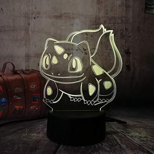 3D led luz de noche Monstruo 7 color dormitorio lámpara decoración del hogar, regalo de Navidad para niños