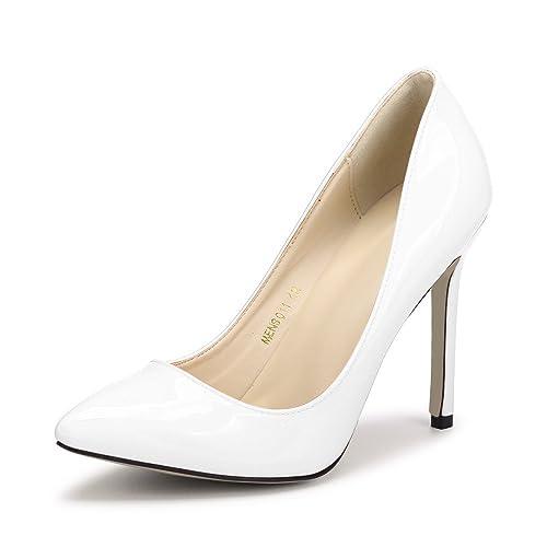 ac5c9a35d8 OCHENTA Women's Patent Leather Slip On Stiletto Dress Pump Beige