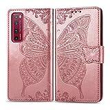 Zhangl Fundas Huawei For el Caso de Huawei Nova 7 Pro Cuero del tirón de la Mariposa Amor de la Flor en Relieve Horizontal con Soporte/Ranura for Tarjeta/Carpeta/cordón (Negro) Fundas Huawei
