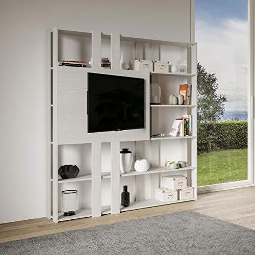 Libreria Composizione N Kato 6R 6 fasce lunghe 2 fasce corte 2 fasce medie pannello TV Bianco Frassino