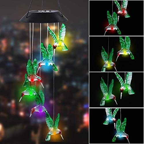 MorTime LED Solar Hummingbird Wind Chime, 25' Mobile Hanging Wind Chime for Home Garden Decoration, Automatic Light Changing Color(Hummingbird)