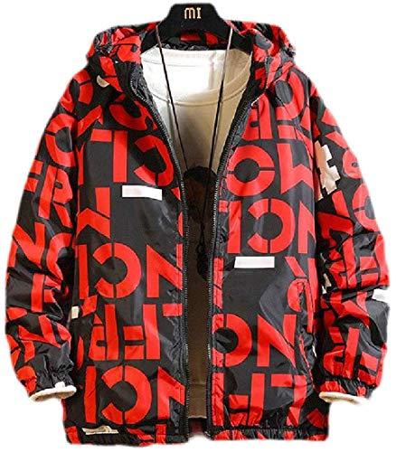 Biooarc Men Fleece Lined Hooded Zip-Up Outerwear Warm Print Bomber Jackets