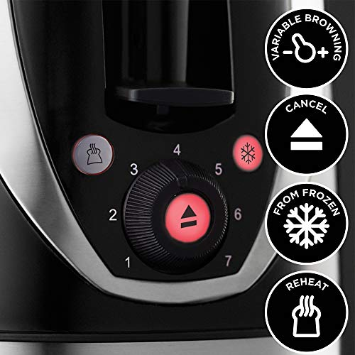 Russell Hobbs 17L Digital 700w Solo Microwave Black & 21410 Mode 2-Slice Toaster, Plastic, Black