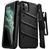Zizo Bolt Cover - Case for iPhone 11 Pro Max with Military Grade + Glass Screen Protector & Kickstand and Holster (Black