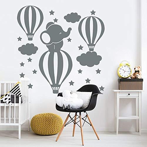 fancjj Elefante Tatuajes de Pared Globo aerostático Nube Estrellas Arte de la Historieta Vinilo Ventana Pegatinas Habitación del bebé Niños Cuarto de niños Dormitorio Decoración Interior