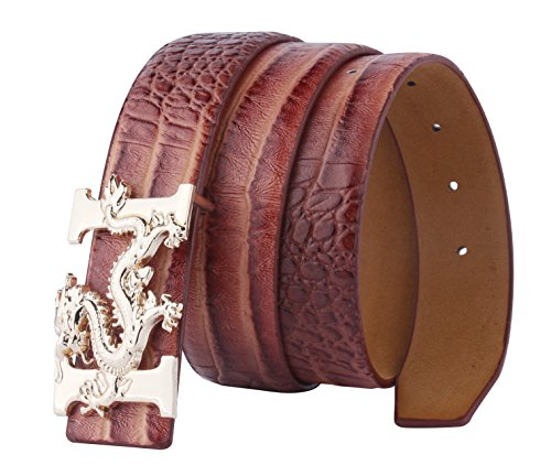 ALAKA Letter H Dragon Buckle Alligator Pattern Leather...