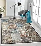 the carpet Elira Teppich Flachgewebe, Robust, Modernes Design, Vintage Optik, Used Look, Superflach, Baumwolle, waschbar, Patchwork, Multi, ca. 120 x 170 cm