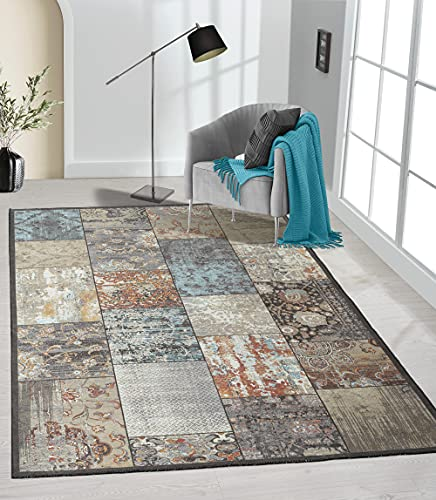 the carpet Elira Teppich Flachgewebe, Robust, Modernes Design, Vintage Optik, Used Look, Superflach, Baumwolle, waschbar, Patchwork, Multi, ca. 80 x 150 cm