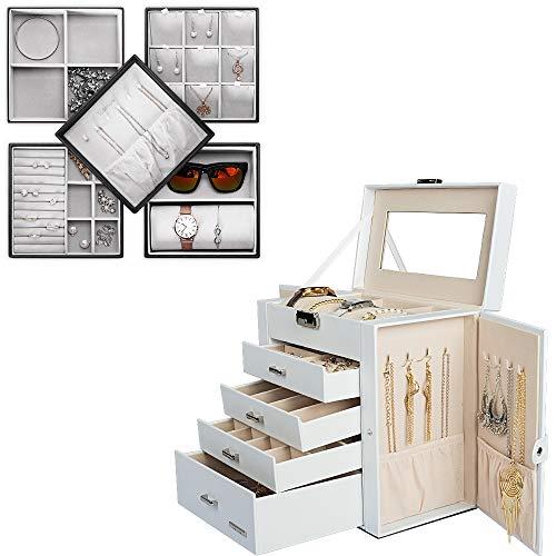 Homde Bundle for Jewelry Organizer: A White Jewelry Box + A Black Jewelry Tray
