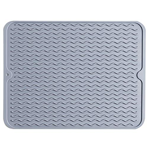 MYLIFFRI Silicone Dish Drying Mat - Heat Resistant Counter Top Pad, Food Grade and Flexible Draining & Sink Mat for Pots, Pans, Glassware, Fruits & vegetables (16 x 12 inches, Grey)