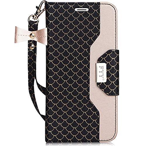 FYY Handyhülle für Samsung Galaxy S7,Lederhülle für Galaxy S7 Tasche mit Magnetverschluss/Kartenfächer/Ständer,Brieftasche Hülle für Galaxy S7,Samsung S7 Schutzhülle -Pattern Schwarz