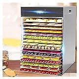 LJJOO Deshidratador de alimentos, secador de mesa de 16 capas-negro cronometrado 24 horas al día, microcomputador inteligente, secador de frutas, doble aislamiento en acero inoxidable, comercial, Desh