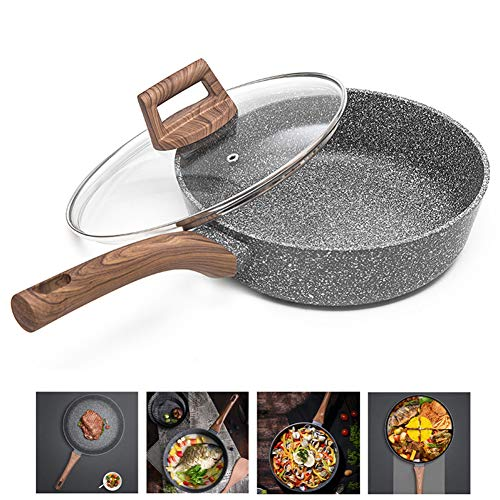 Generies Frying Pans Nonstick with Lids, Nonstick Frying & Saute Pan Best Nonstick Omelette Skillet with Soft Touch Handle for Home Kitchen(11Inch)